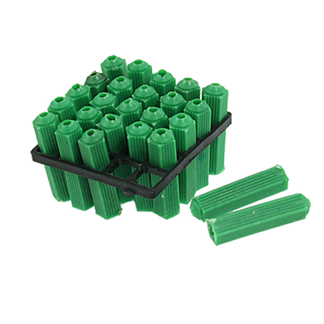 200 Pcs Masonry Fixing Green 6mm Nonslip Plastic Wall Plugs