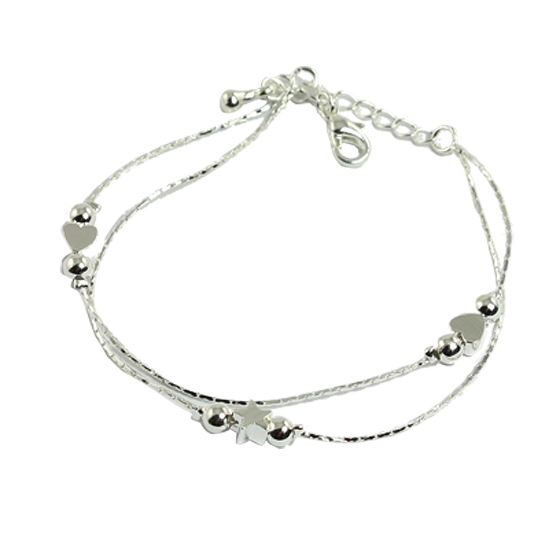 Women Heart Star Decor Flexible Metal Thread Silver Tone Bracelet