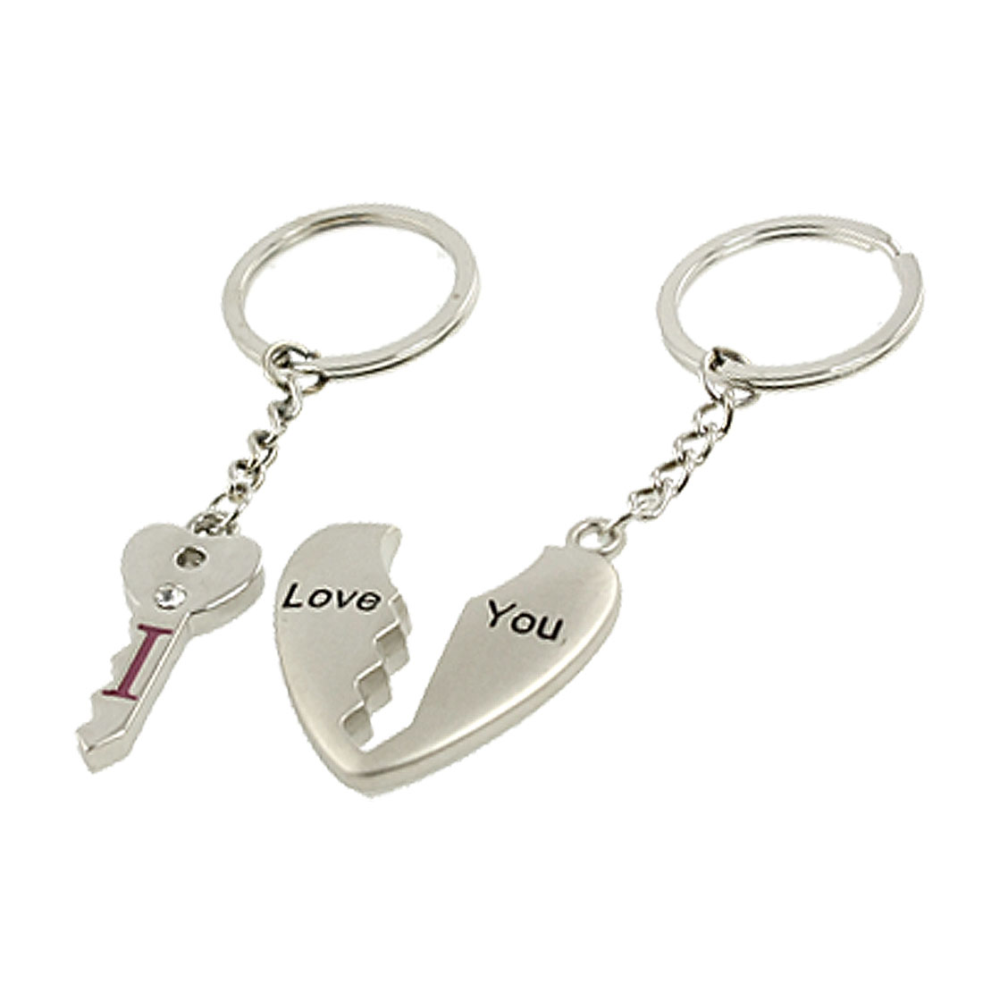 Lovers Couples Silver Tone Metal Heart Key Pandant Keychains Keyrings
