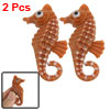 Plastic Artificial Floating Seahorse Decor Coffee Color 2 Pcs for Aquarium