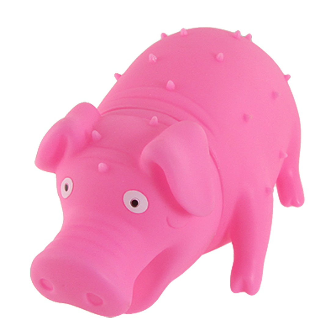 Fuchsia Soft Rubber Bristle Squeeze Grunting Hug Pig Toy