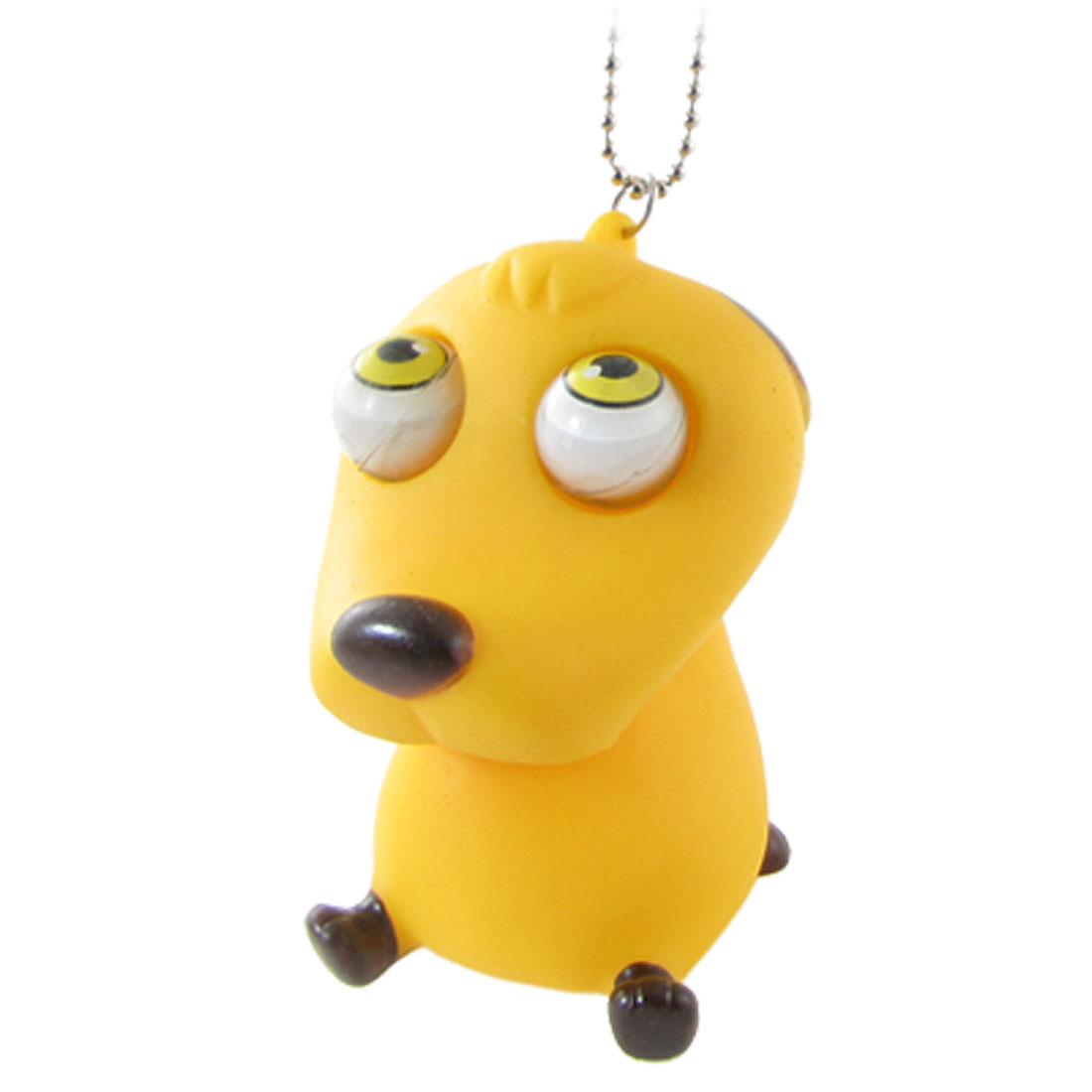 Beaded Chain Yellow Small Dog Shaped Pop Eyes Decompression Vent Squeeze Toy