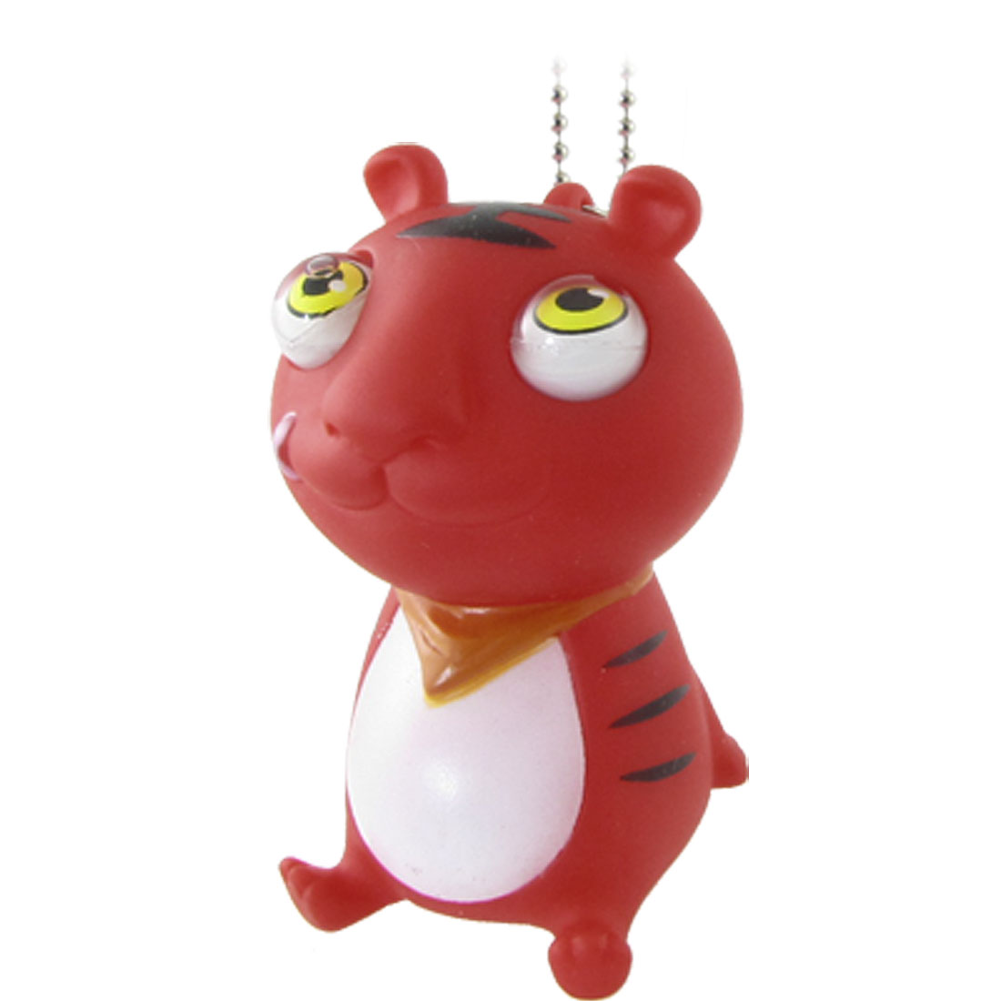 Red Small Tiger Design Stress Reliever Squeeze Pop Out Eyes Toy w Bead Chain