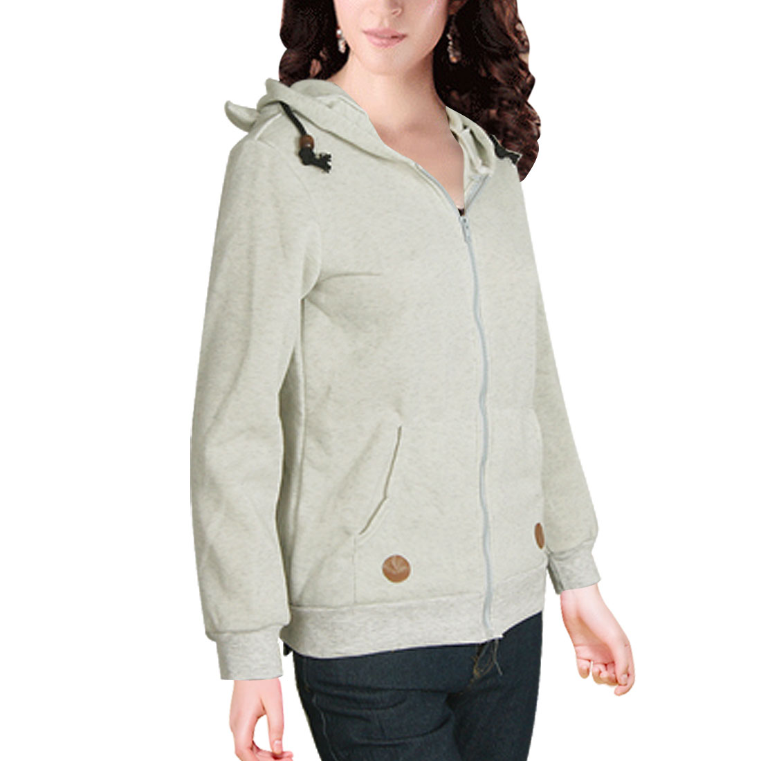 Light Gray Zip up Bear Design Hoodie Sweatshirt S for Women