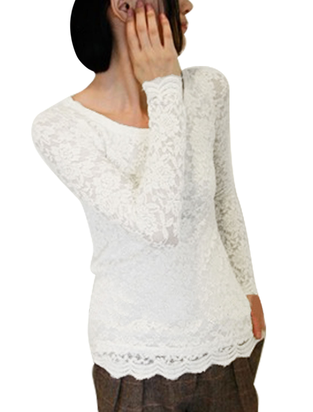 Women White Round Neck Flower Sheer Long Sleeve Shirt XS