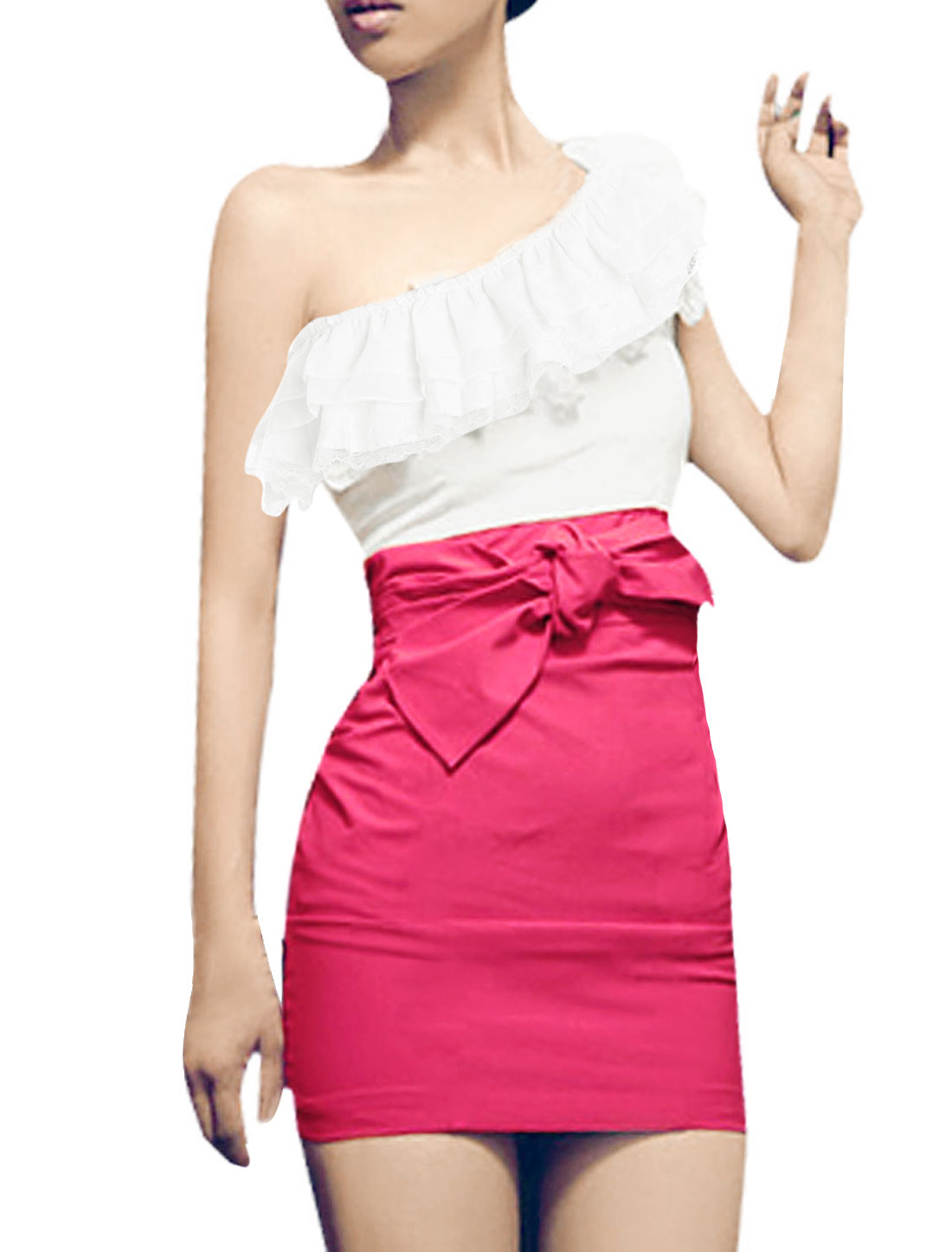 Ruffled Single Shoulder White Fuchsia Mini Dress XS for Women