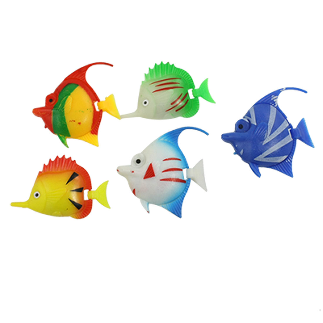 Aquarium Assorted Color Plastic Flexible Tail Fish Decor 5 Pcs