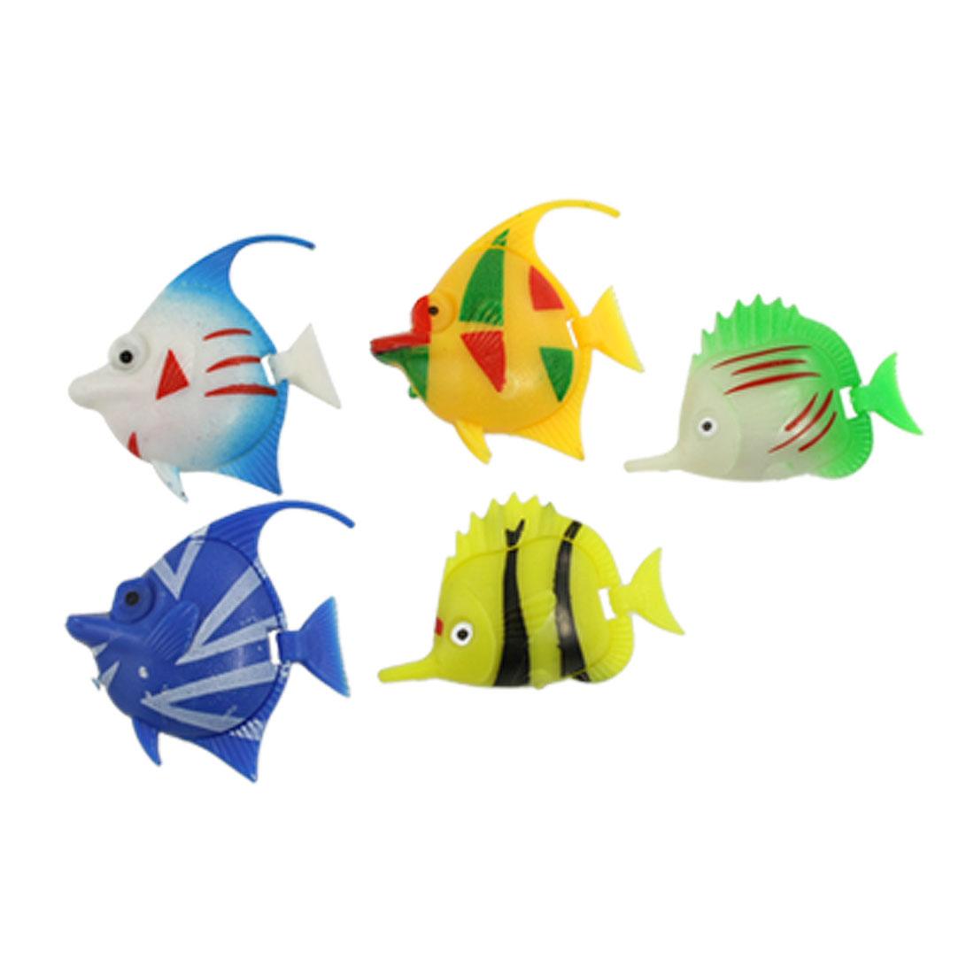 5 Pcs Artificial Plastic Colorful Decor Fish for Aqaurium