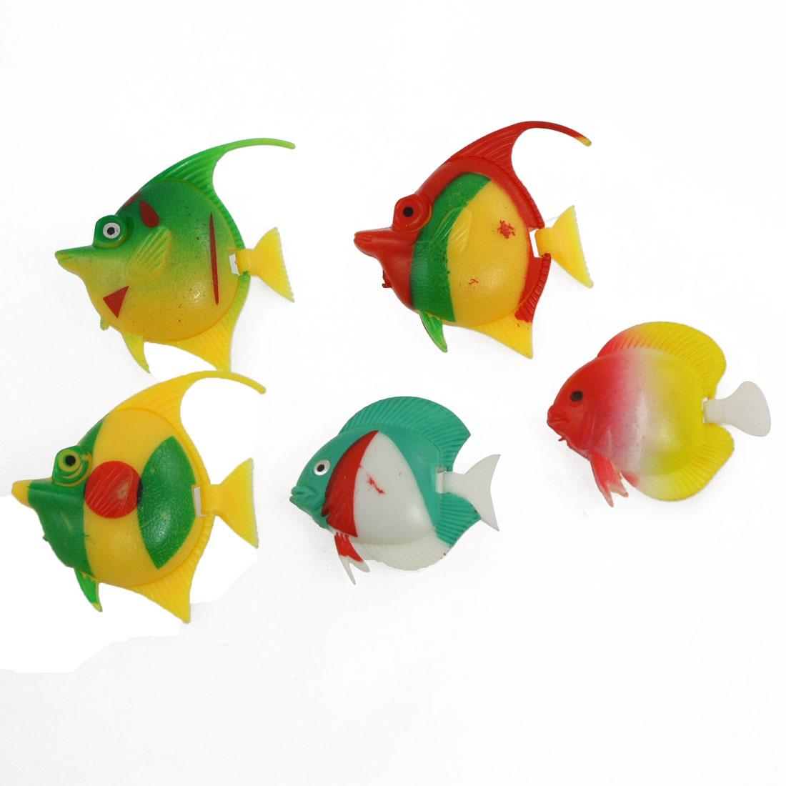 5 Pcs Tank Aquarium Colorful Plastic Tropical Fish Decoration