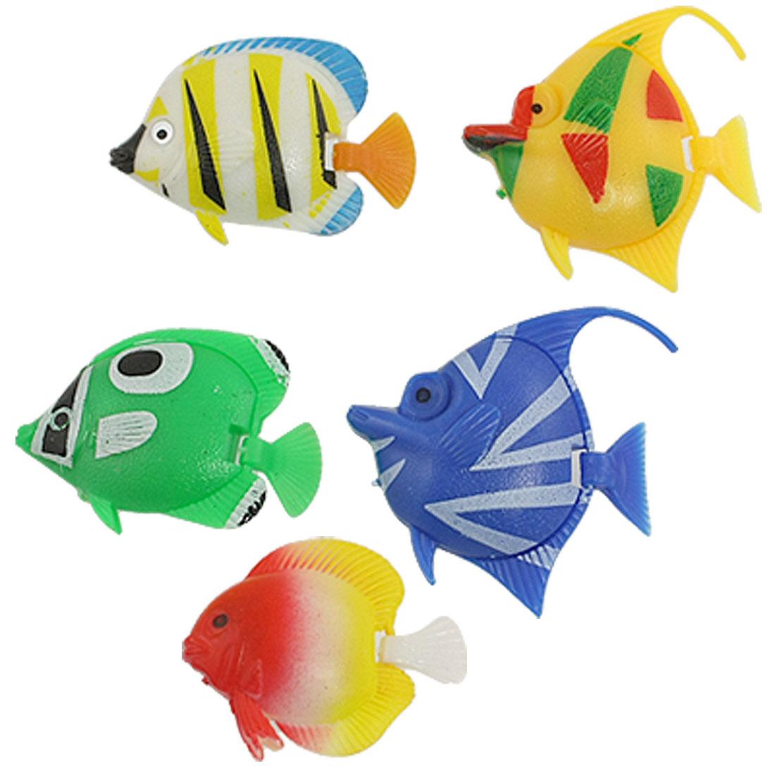 Colorful Plastic Manmade Swimming Tropical Fish for Aquarium 5 Pcs