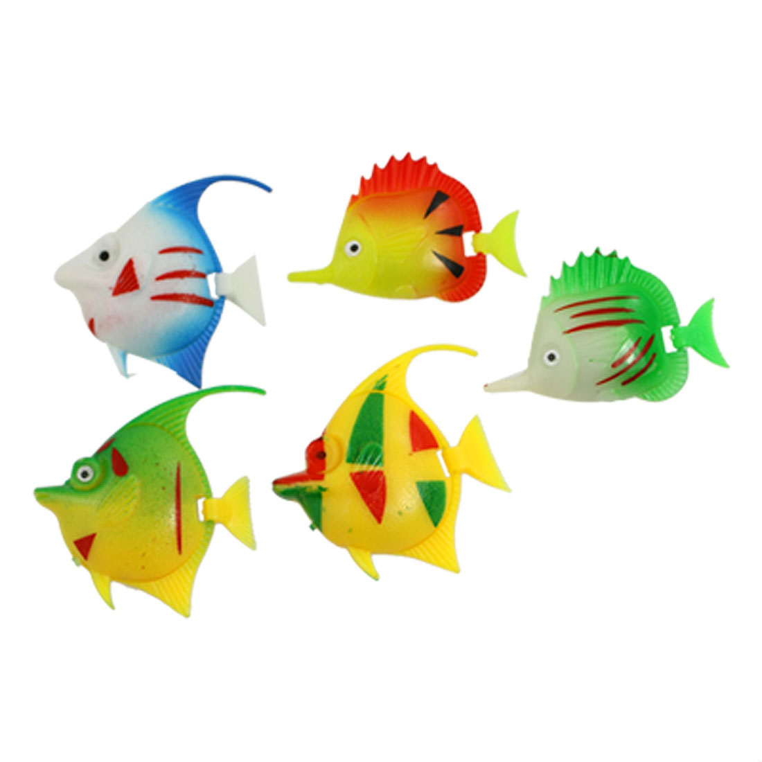 5 Pcs Colorful Plastic Decorative Fish for Aquarium