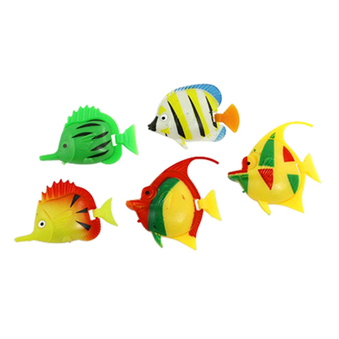 5 x Multi-colored Plastic Tropical Fish Decor for Aquarium