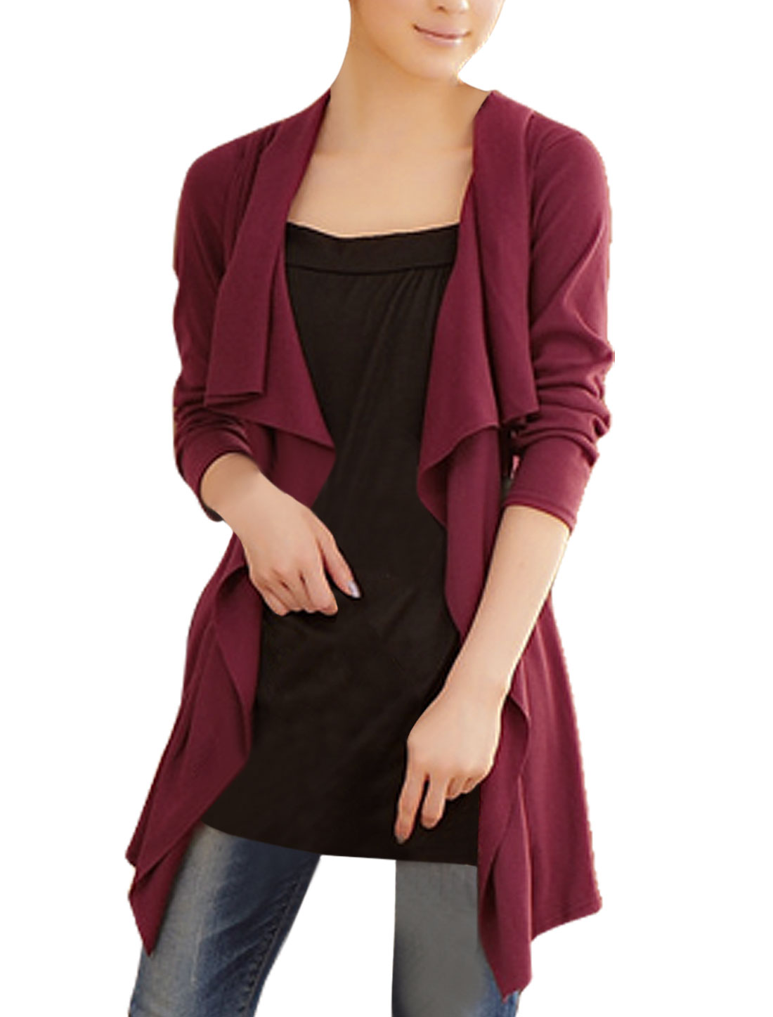 Burgundy Black Long Sleeve Layered Shirts Tunic Shirt XS for Women