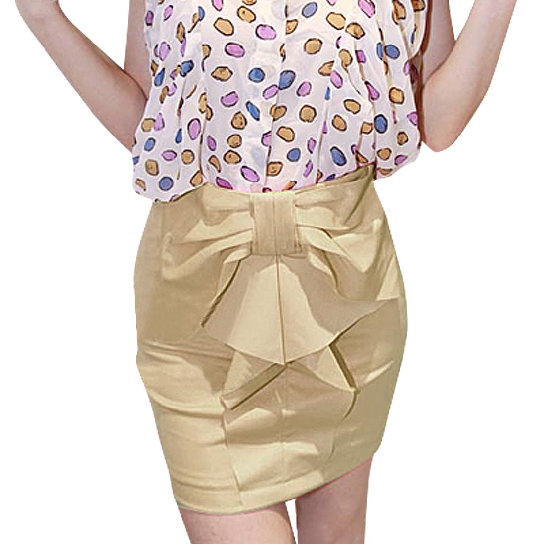 Hidden Zip up A-line Beige Above Knee Skirt S for Women