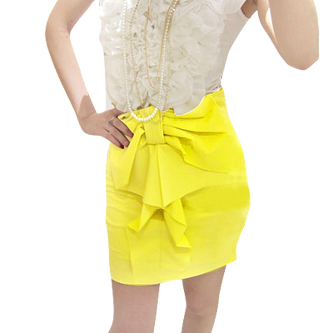 Women Yellow Bowtie Ruffled Decor Above Knee Skirt S