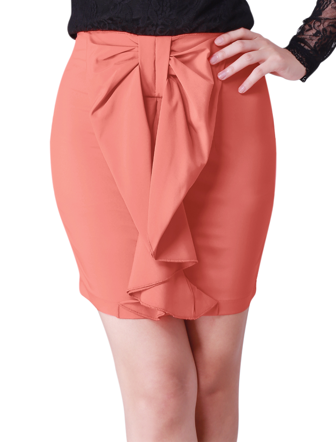 Watermelon Red Zip up A-line Above Knee Skirt S for Women