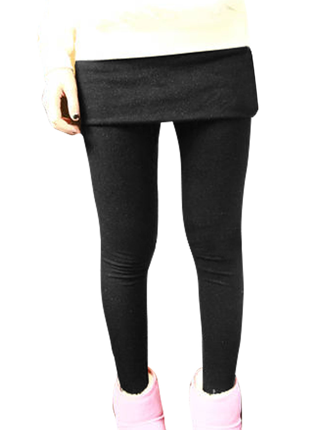 Women Winter Black Warm Close-fitting Full Length Skirt Leggings XS