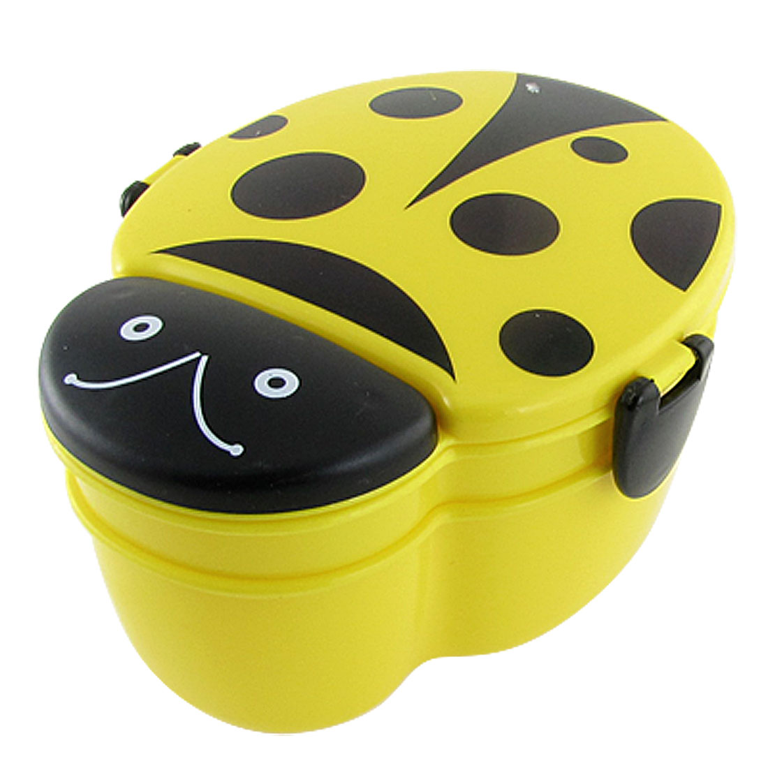 Student Yellow Black Plastic Beetle Shape Lunch Box Case w Spoon