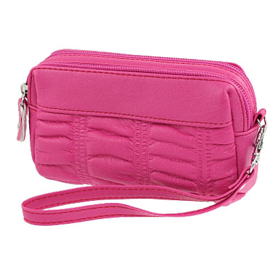 Ladies Fuchsia Zip Up Faux Leather Textured Hand Bag Purse