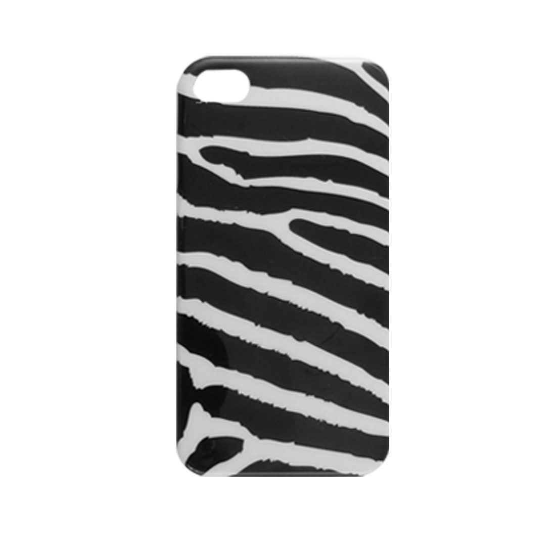Black White IMD Zebra Print Plastic Cover for iPhone 4 4G 4S