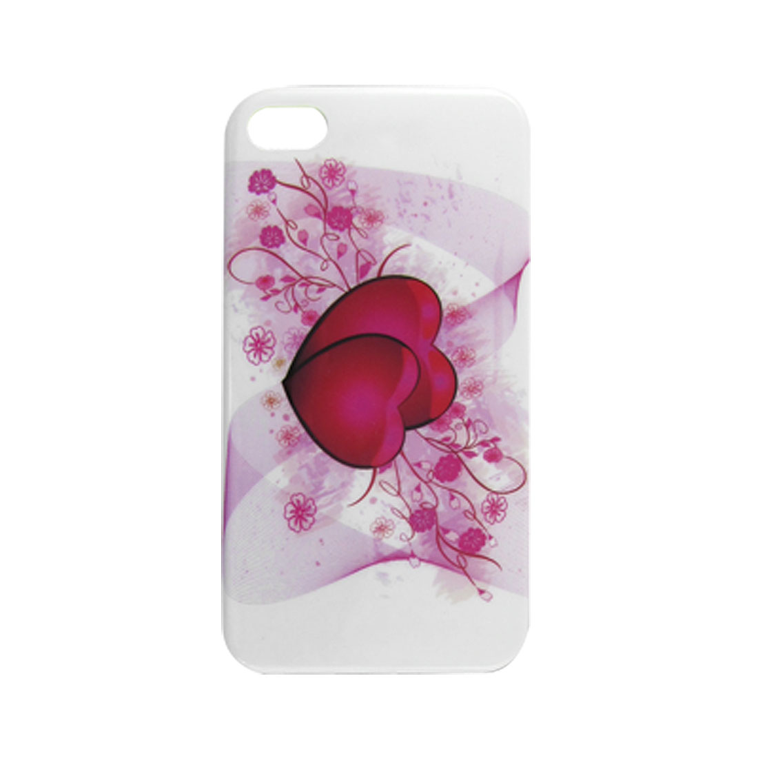 White Red IMD Heart Print Hard Plastic Cover for iPhone 4 4G 4S
