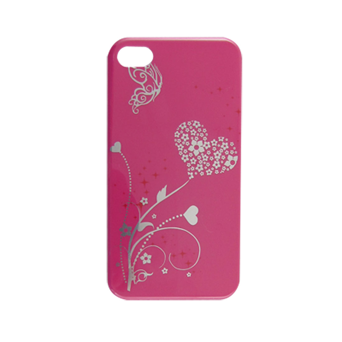 Fuchsia Silver Tone IMD Floral Hard Plastic Shell Cover for iPhone 4 4G 4S