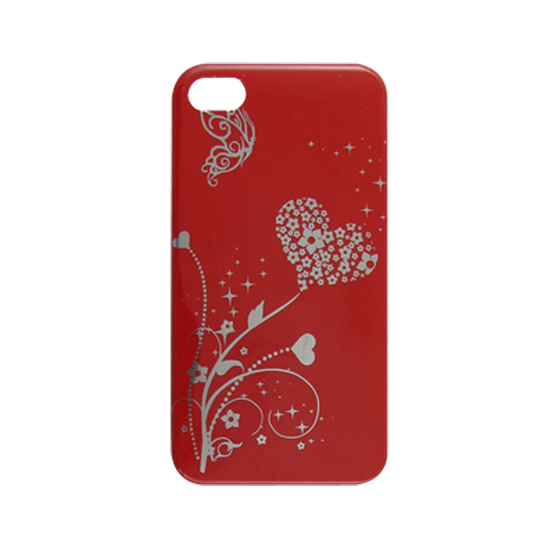Red Silver Tone IMD Floral Print Hard Plastic Cover for iPhone 4 4G 4S