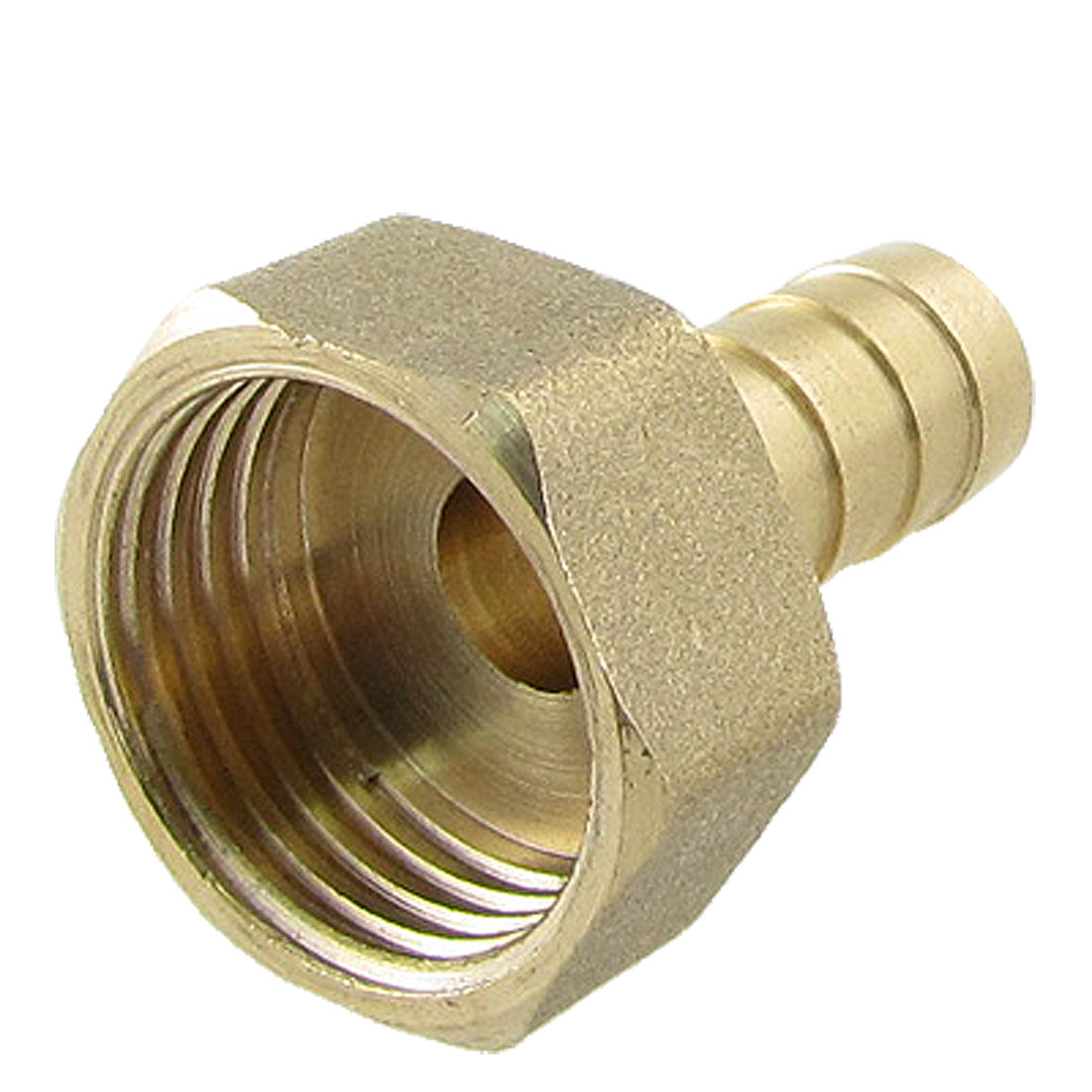 "Gold Tone Brass Fitting 10mm Hose Barb 1/2"" Female Thread Straight Connector"
