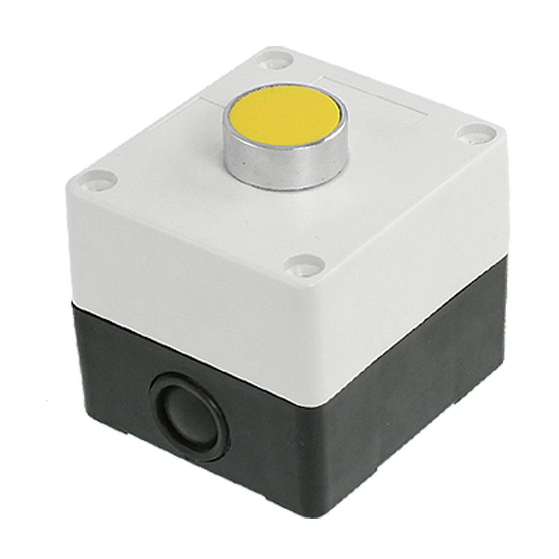 AC 240V 3A Yellow Sign Flat Momentary Push Button Switch Station Box 1 NO N/O