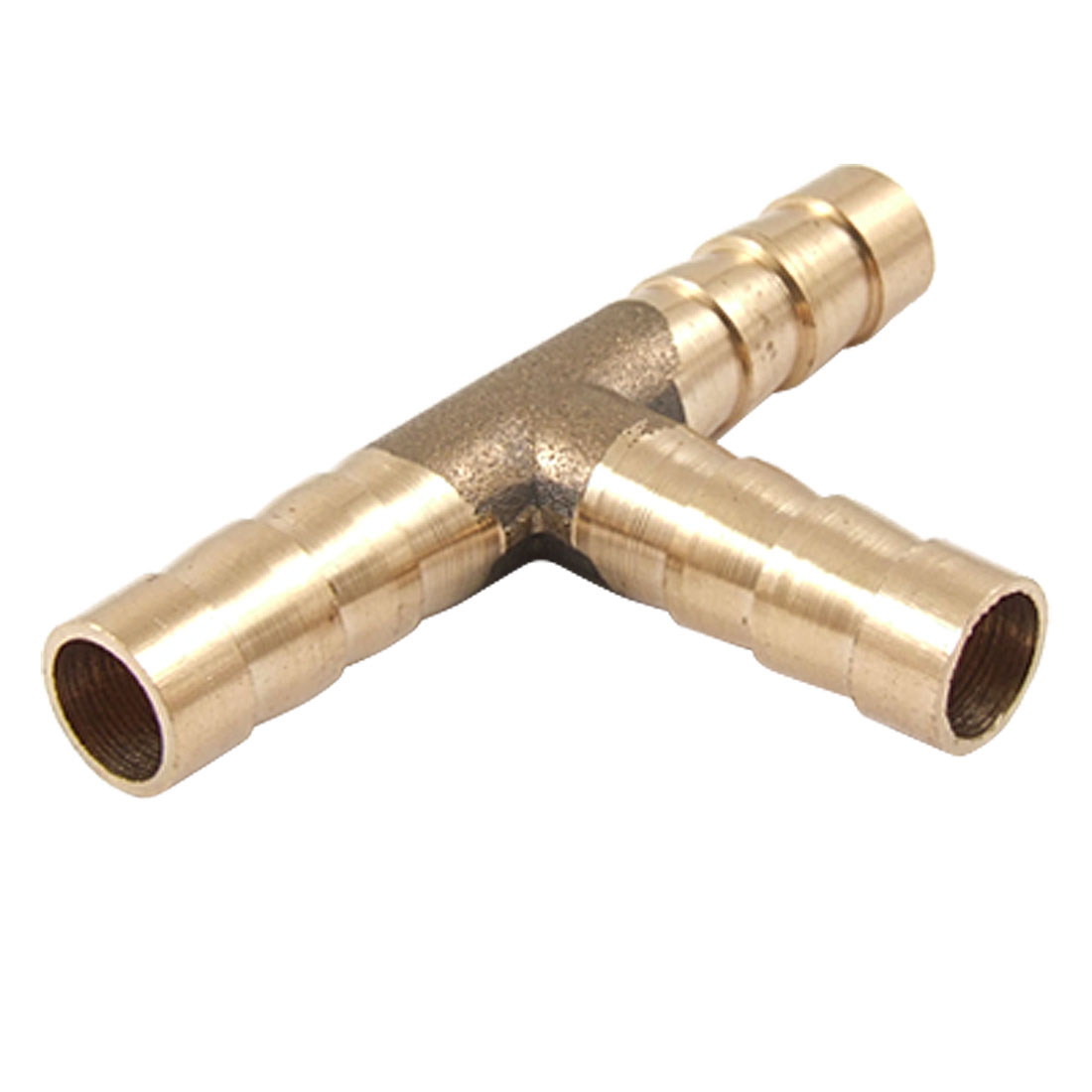 Brass 3 Way T Hose Barb Connector Adapter for Air Water Fuel Pipe