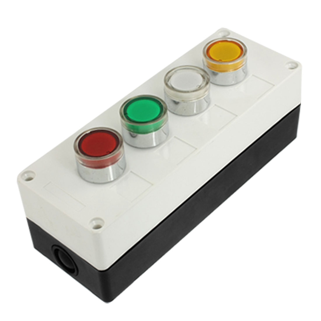 AC 220V Red Green White Yellow Lamp Momentary Push Button Switch Station