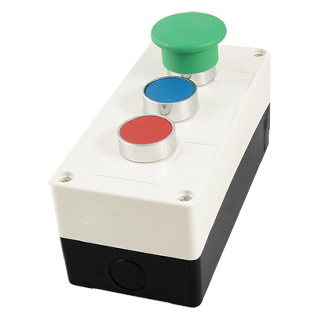 AC 240V 400V Green Mushroom Round Red Blue Momentary Switch Push Button Station