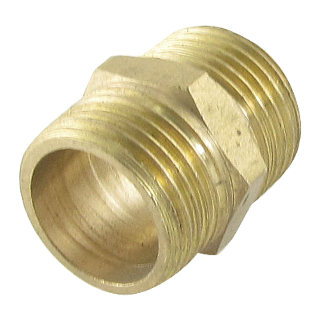 "Air Pneumatic Piping 41/64"" Male to Male Hex Nipple Equal Connector Gold Tone"