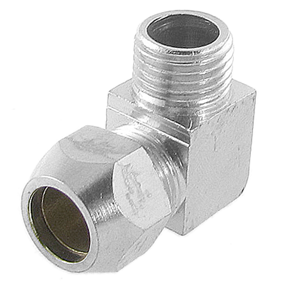 "Silver Tone Brass 3/8"" Tube 1/2"" Thread Right Angle Compression Male Elbow Connector Pipe Adapter"