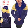 Women Full Zip up Hooded Long Sleeve Coat Dark Blue Yellow XS