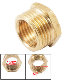 Brass Pipe Fitting 16 x 12mm Hex Thread Bushing Reducer Connector