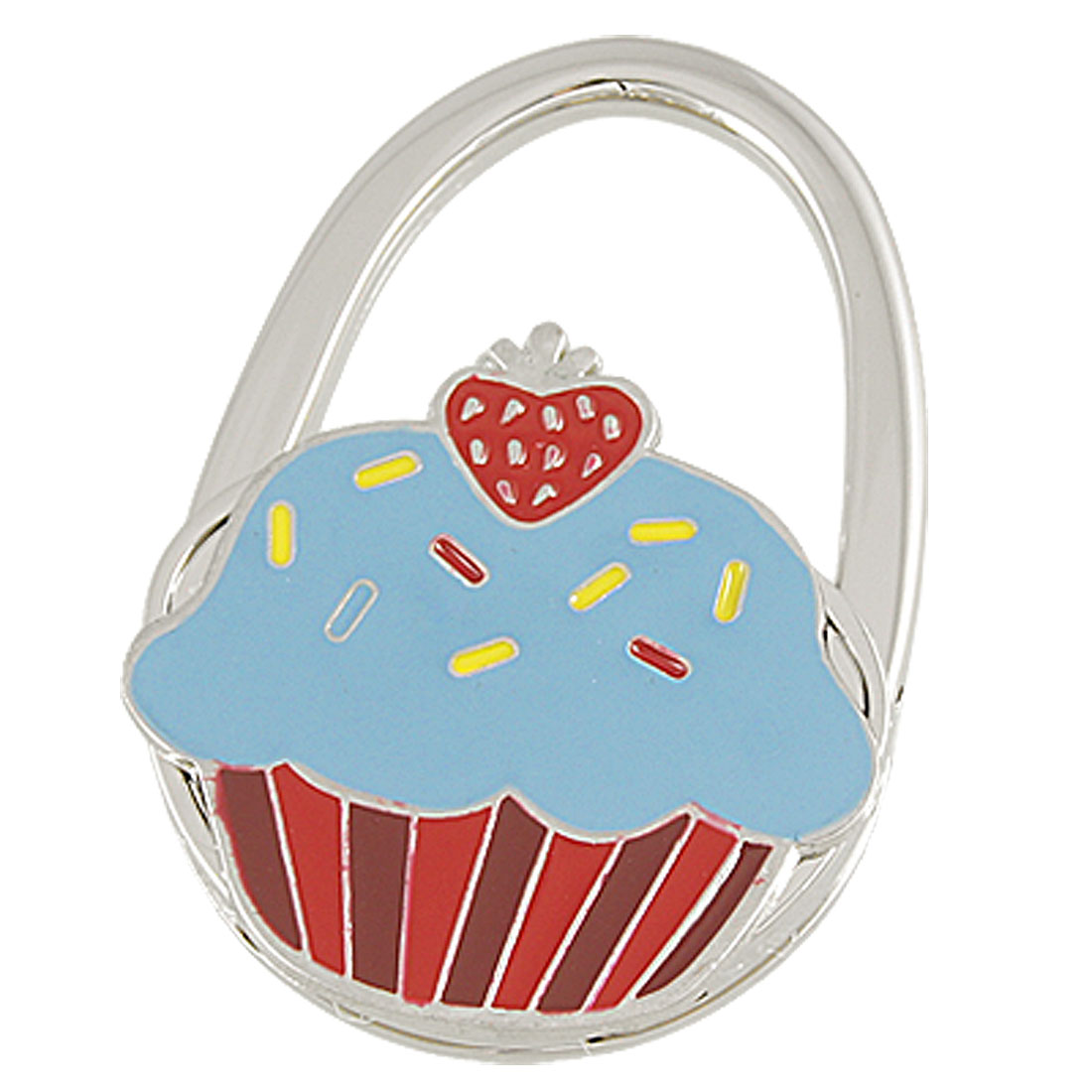 Red Strawberry Decor Cake Pattern Foldable Metal Handbag Hook Purse Hanger