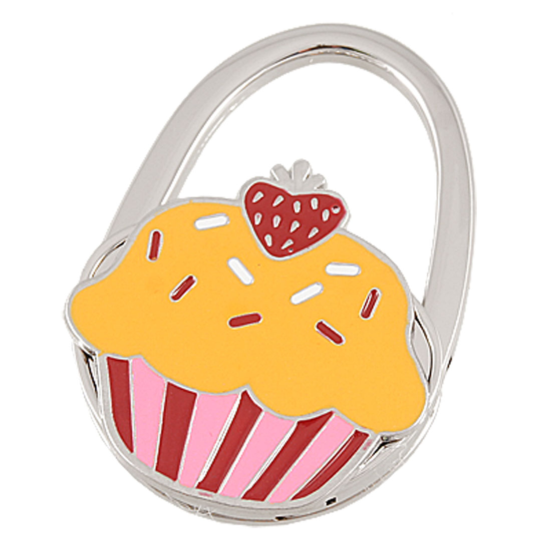 Yellow Red Pink Cake Pattern Padlock Shaped Foldable Metal Handbag Hook