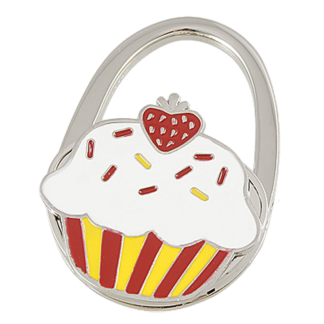 White Yellow Red Cake Pattern Padlock Shaped Foldable Metal Handbag Hook
