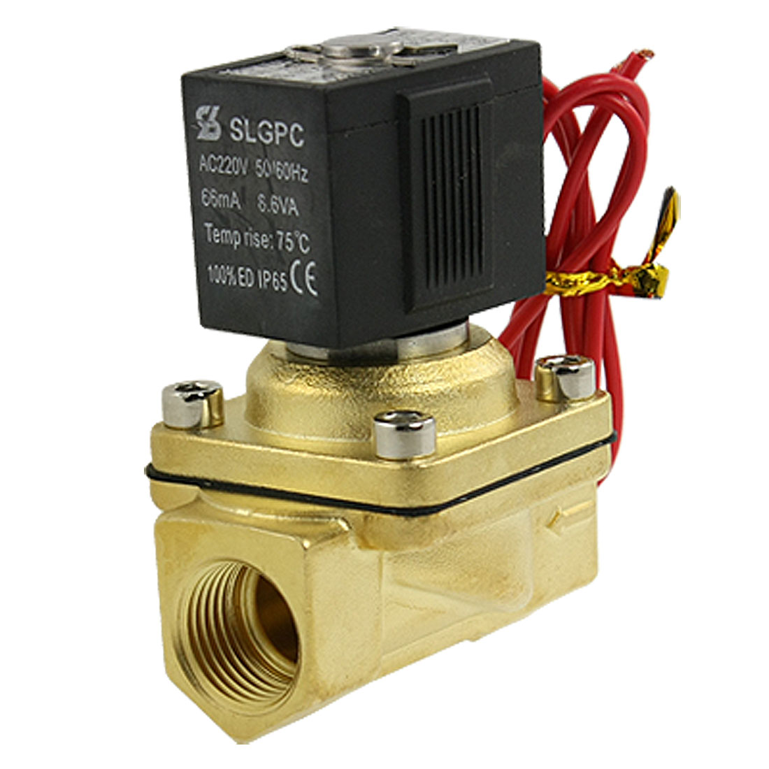 "1/2"" 2 Port 2 Position Brass Body Solenoid Valve AC 220V 66mA 8.6W"
