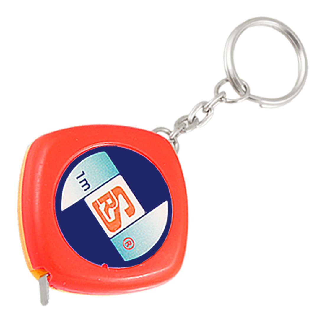 1M 3 Feet 39 Inches Orange Red Plastic Case Key Chain Measuring Tape
