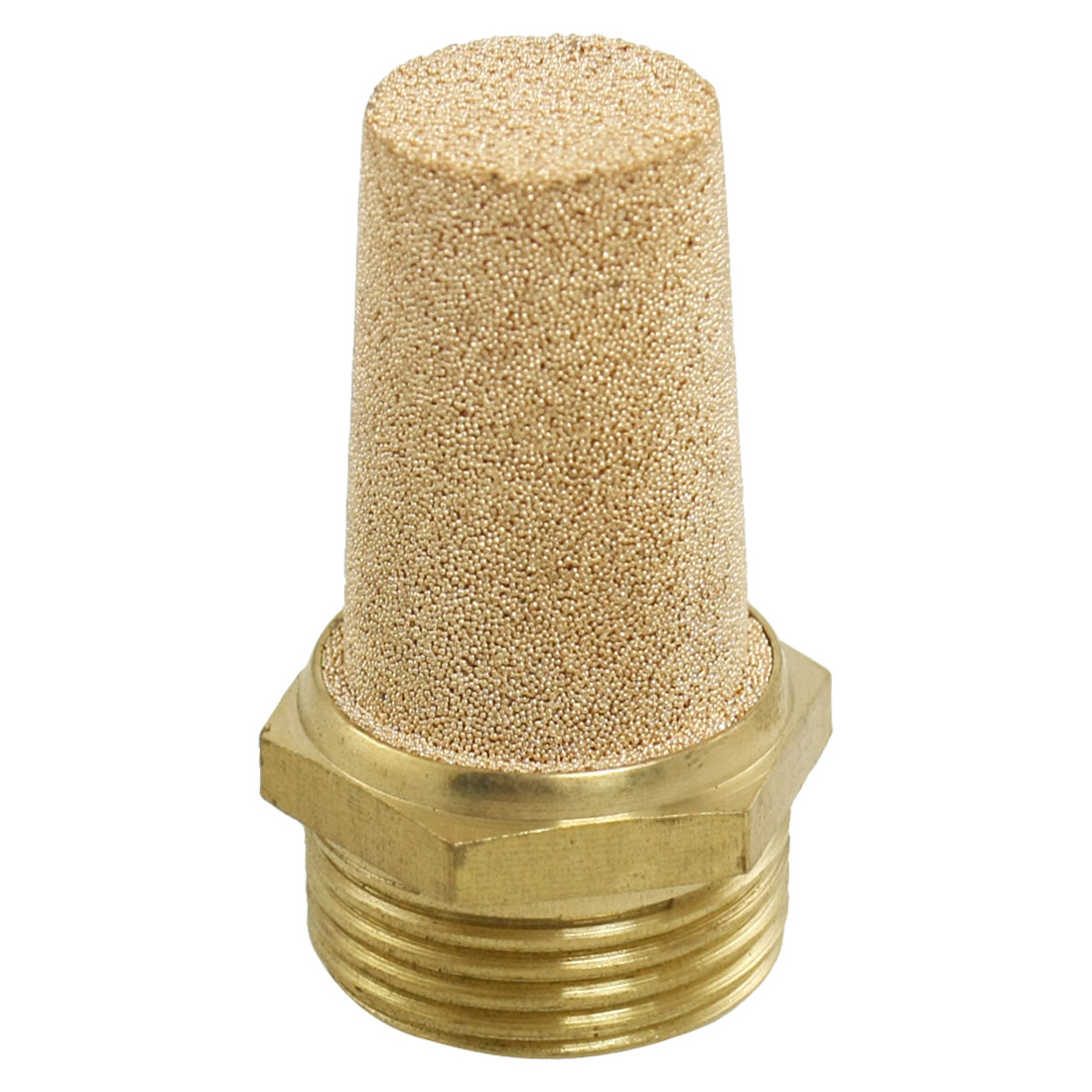 "3/4"" PT Male Thread Gold Tone Pneumatic Exhaust Noise Silencer Muffler"