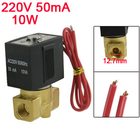 "AC 220V 50mA 10W 1/4"" 2 Port 2 Way Direct Acting Solenoid Valve"