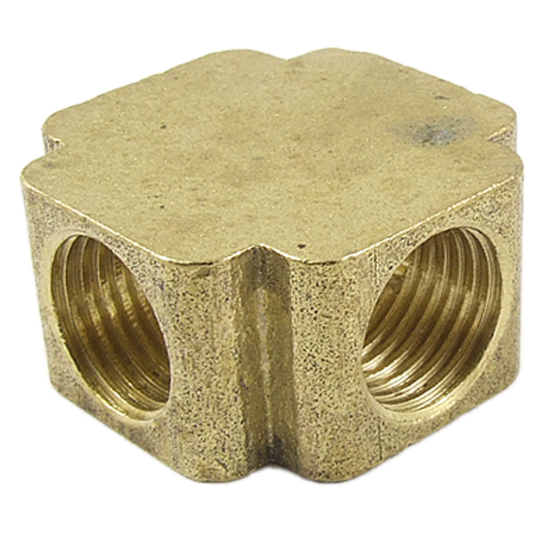 "Brass 1/4"" NPT Female Thread 4 Ways Cross Connector Pipe Adapter Coupler Gold Tone"