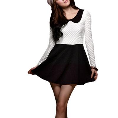Woman Black White Long Sleeve Peter Pan Collar Mini Dress Sz XS