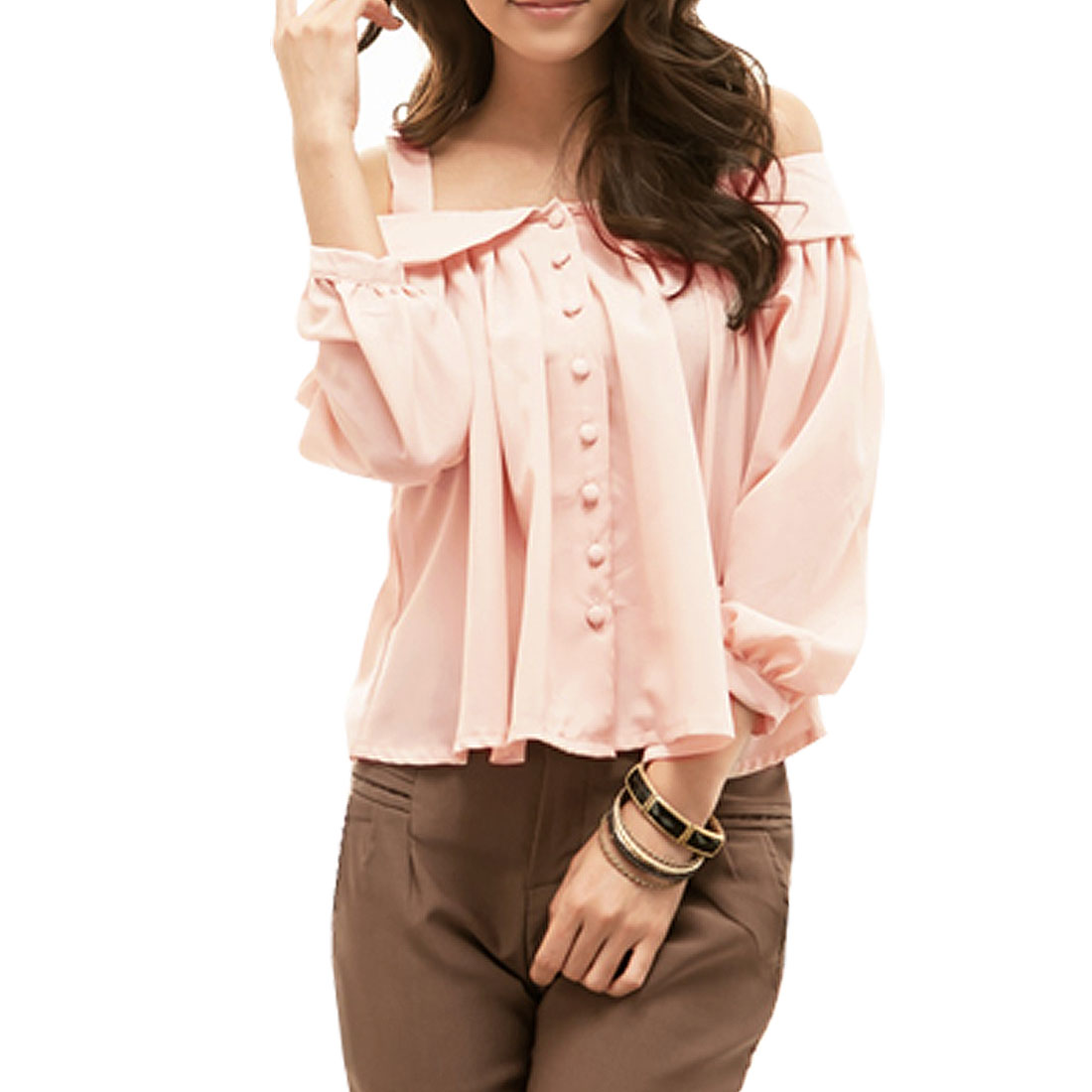 Ladies Pink Off Shoulder Ruffled Single Breasted Chiffon Shirt XS