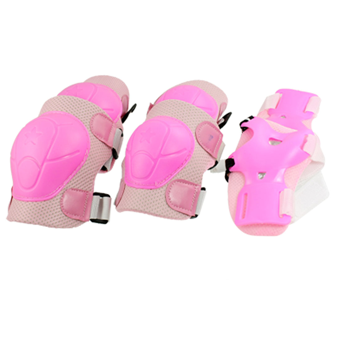 Children Outdoor Activities Gear Knee Elbow Pads Wrist Support Protector Set Pink