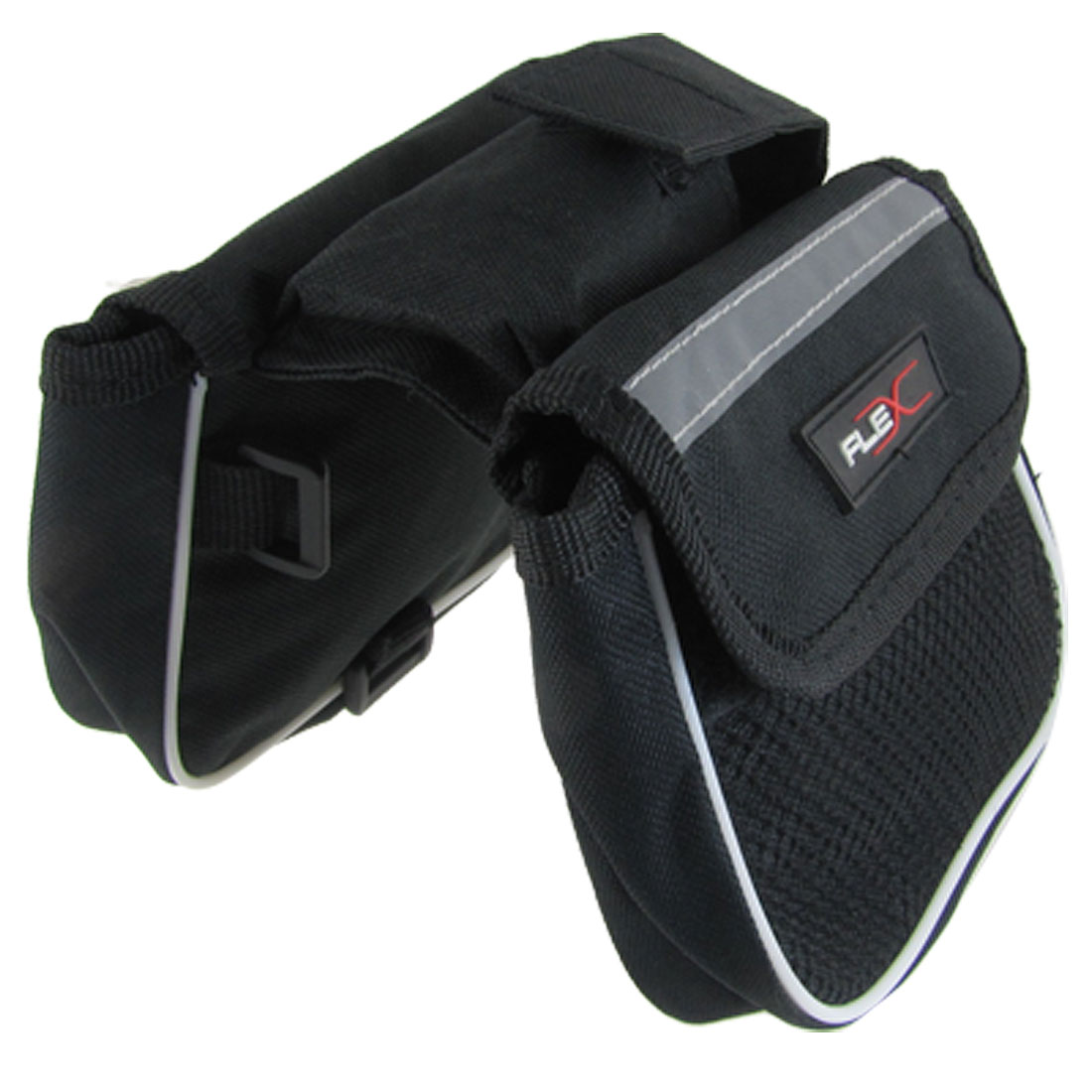Bike Bicycle Detachable Closure Double Saddle Front Bag Black