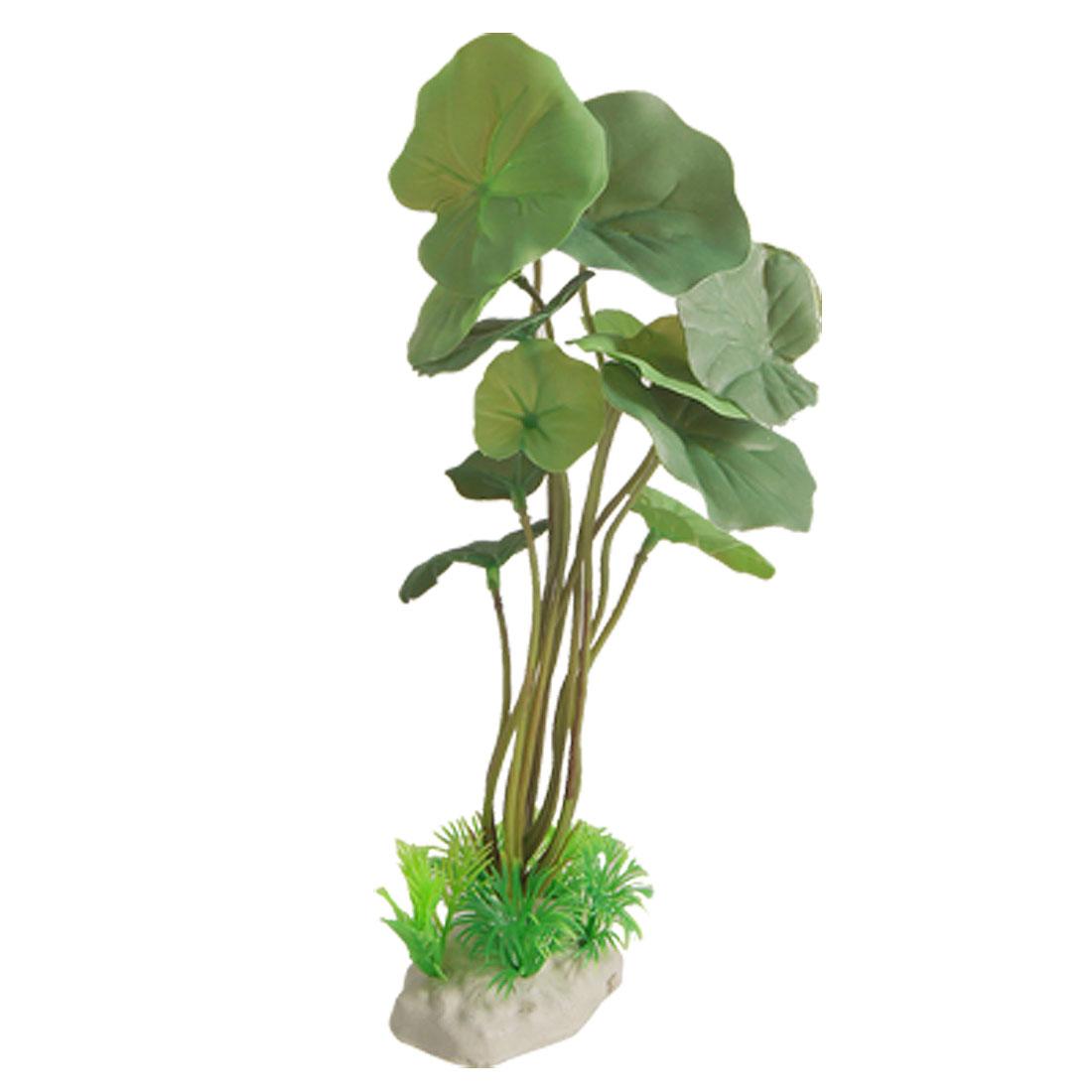 "Round Leaves 10"" High Plastic Plant Ornament Green for Fish Tank Aquarium"