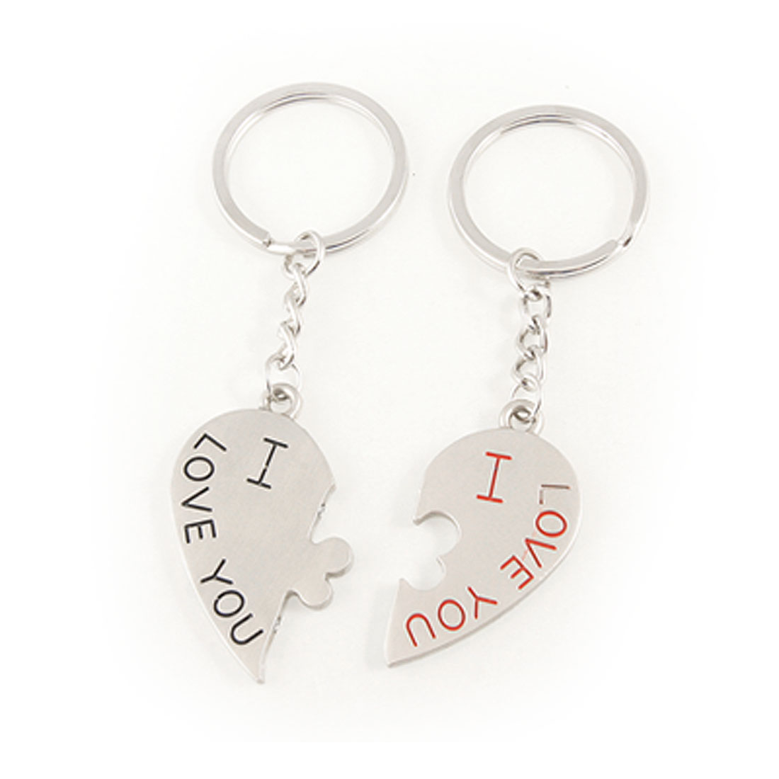 Valentine Gift Letter Print Magnetic Heart Keyring Key Chains 2 Pcs for Lovers